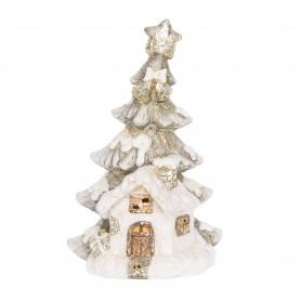 Házikó LED világítással kerámia 19,5x14,5x30cm fehér, ezüst, arany