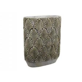Kaspó levélmintás cement 30.5x15.5x38cm zöld