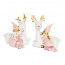 Kislány szarvassal glitteres ülő poly 9x6,5x10 pink 2 féle