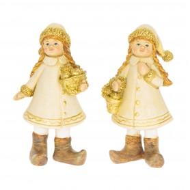 Kislány almáskosárral álló glitteres poly 5x3x10,5 cm arany 2 féle