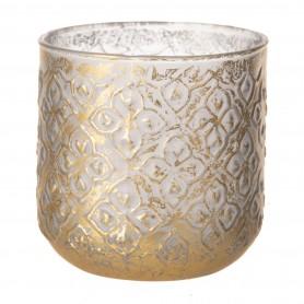 Mécsestartó kerek üveg 10x10x10,5cm arany,kék