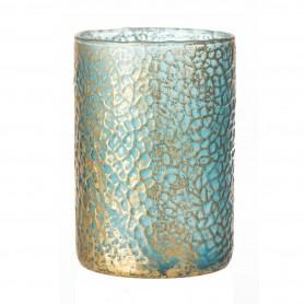 Mécsestartó kerek üveg 13,5x20cm kék,arany