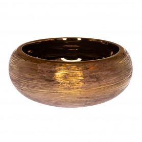 Kaspó rusztikus kerámia 22,5x22,5x9cm arany