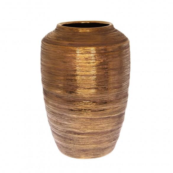 Váza rusztikus kerámia 24x24x35,5cm arany