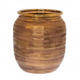 Váza rusztikus kerámia 17x17x17,5cm arany