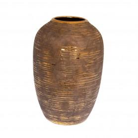 Váza mintával kerámia 30,5x30,5x44cm szürke, arany