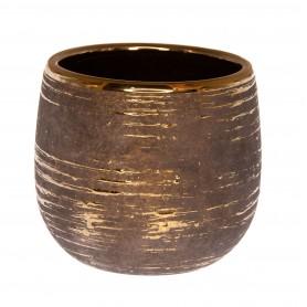 Váza mintával kerámia 30x30x26cm szürke, arany