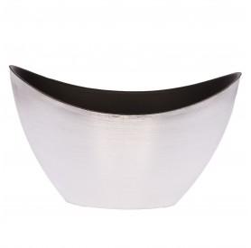 Csónak alakú kaspó műanyag 20x9x11.5cm ezüst